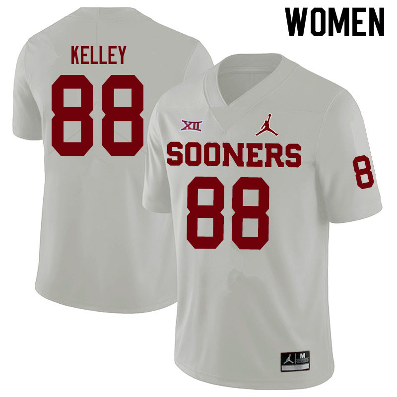 Women #88 Jordan Kelley Oklahoma Sooners Jordan Brand College Football Jerseys Sale-White